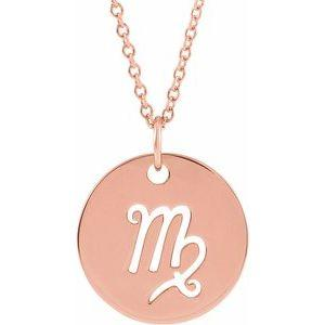 "Virgo Zodiac Disc 16-18"" Necklace 14K Rose Gold Sustainable Ethical Fine Jewelry Storyteller by Vintage Magnality"