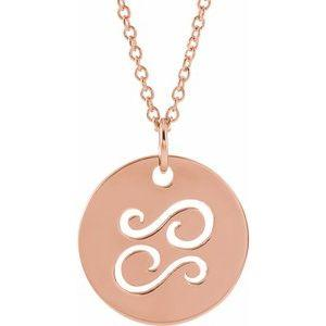 "Cancer Zodiac Disc 16-18"" Necklace 14K Rose Gold Sustainable Ethical Fine Jewelry Storyteller by Vintage Magnality"