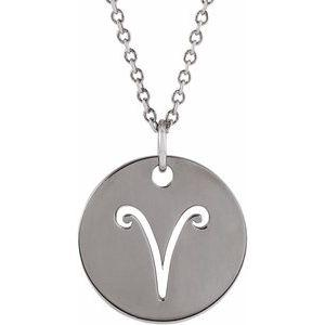 "Aries Zodiac Disc 16-18"" Necklace 14K White Gold Sustainable Ethical Fine Jewelry Storyteller by Vintage Magnality"
