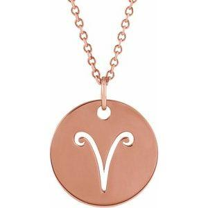 "Aries Zodiac Disc 16-18"" Necklace 14K Rose Gold Sustainable Ethical Fine Jewelry Storyteller by Vintage Magnality"