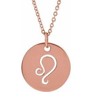 "Leo Zodiac Disc 16-18"" Necklace 14K Rose Gold Sustainable Ethical Fine Jewelry Storyteller by Vintage Magnality"