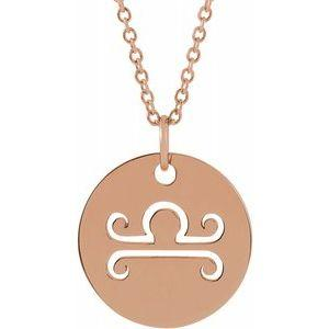 "Libra Zodiac Disc 16-18"" Necklace 14K Rose Gold Sustainable Ethical Fine Jewelry Storyteller by Vintage Magnality"