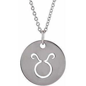 "Taurus Zodiac Disc 16-18"" Necklace 14K White Gold Sustainable Ethical Fine Jewelry Storyteller by Vintage Magnality"