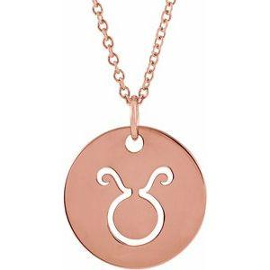 "Taurus Zodiac Disc 16-18"" Necklace 14K Rose Gold Sustainable Ethical Fine Jewelry Storyteller by Vintage Magnality"