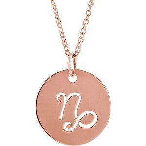 "Capricorn Zodiac Disc 16-18"" Necklace 14K Rose Gold Sustainable Ethical Fine Jewelry Storyteller by Vintage Magnality"