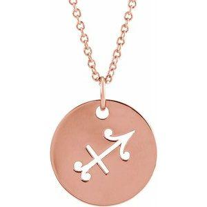 "Sagittarius Zodiac Disc 16-18"" Necklace 14K Rose Gold Sustainable Ethical Fine Jewelry Storyteller by Vintage Magnality"