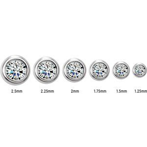 Graduated scale of diamond sizes ranging from 2.5 MM to 1.25 MM in 14K White Gold