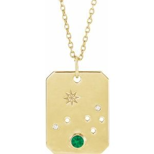 "Emerald & .0075 CTW Diamond Aries Zodiac Constellation 16-18"" Necklace 14K Yellow Gold Ethical Sustainable Fine Jewelry Storyteller by Vintage Magnality"