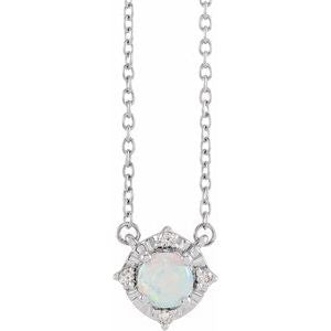 "14K White Gold or Sterling Silver Lab-Created Opal & .04 CTW Diamond Halo-Style 18"" Necklace Ethical Sustainable Fine Jewelry Storyteller by Vintage Magnality"