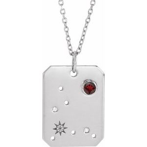 "14K White Gold or Sterling Silver Mozambique Garnet & .0075 CTW Diamond Pisces Zodiac Constellation 16-18"" Necklace Ethical Sustainable Fine Jewelry Storyteller by Vintage Magnality"