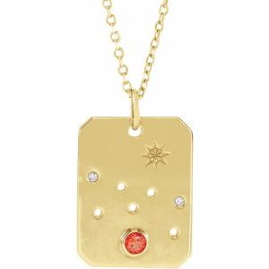 "Taurus Mexican Fire Opal & .0075 CTW Diamond Zodiac Constellation 16-18"" Necklace 14K Yellow Gold Ethical Sustainable Fine Jewelry Storyteller by Vintage Magnality"
