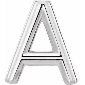 Single Initial A-Z Earring 14K White Gold