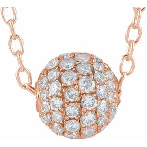 "3/8 CTW Diamond Pave 6MM Ball 16-18"" Necklace 14K Rose Gold Ethical Sustainable Fine Jewelry Storyteller by Vintage Magnality"