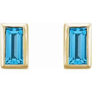Swiss Blue Topaz Bezel-Set Stud Earrings 14K Yellow Gold Ethical Sustainable Fine Jewelry Storyteller by Vintage Magnality