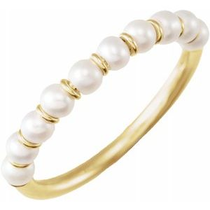Freshwater Cultured Pearl Ring 14K Yellow Gold Ethical Sustainable Fine Jewelry Storyteller by Vintage Magnality