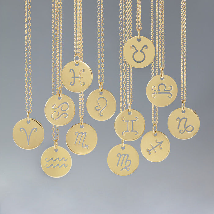 "Zodiac Disc 16-18"" Necklace 14K Yellow White Rose Gold"