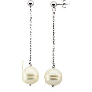 9-11 MM Freshwater Cultured Pearl Dangle Earrings 14K White Gold or Sterling Silver Ethical Sustainable Fine Jewelry Storyteller by Vintage Magnality