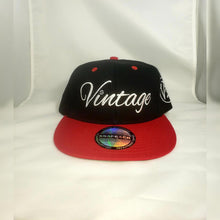 Load image into Gallery viewer, Vintage SnapBack Hat Black, White and Red