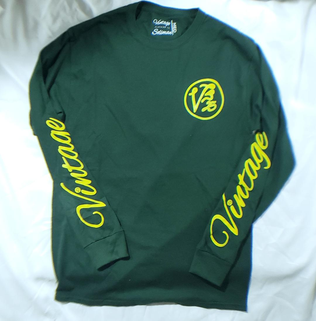 Vintage Long Sleeved T-Shirt Forrest Green and Yellow