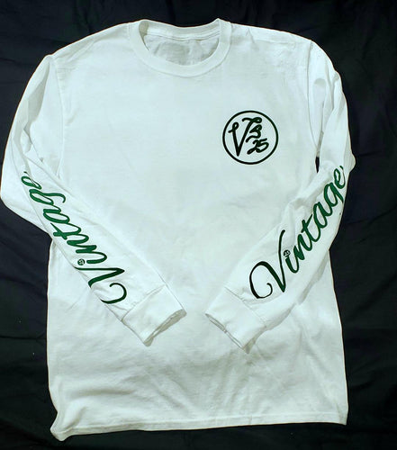 Vintage Long Sleeved T-Shirt White and Forrest Green