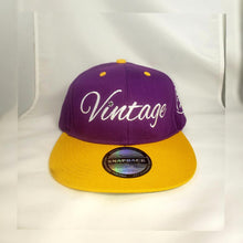 Load image into Gallery viewer, Vintage SnapBack Hat Purple White and Gold