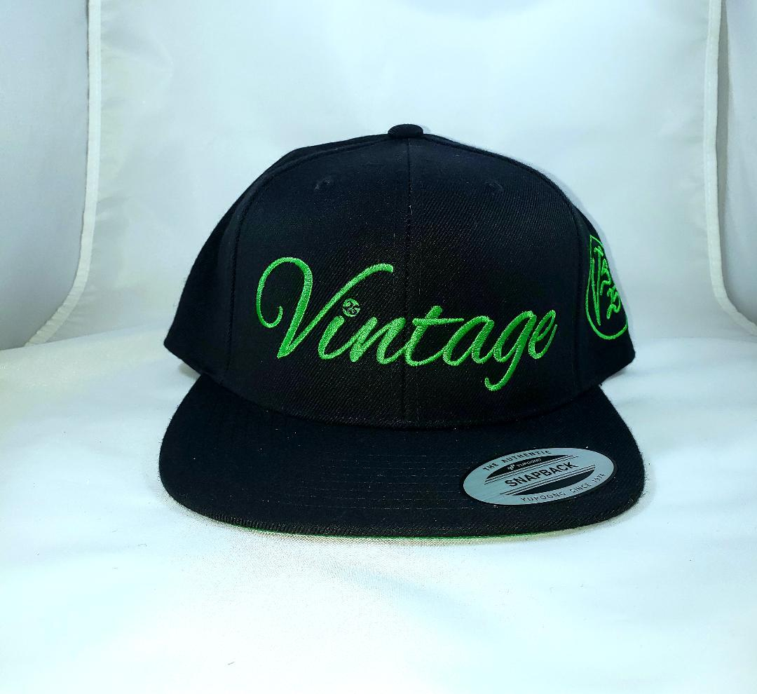 Vintage SnapBack Hat Black and Kelly Green