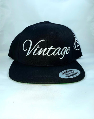 Vintage SnapBack Hat Black & White