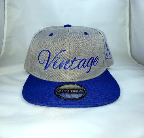 Vintage SnapBack Hat Grey & Royal Blue