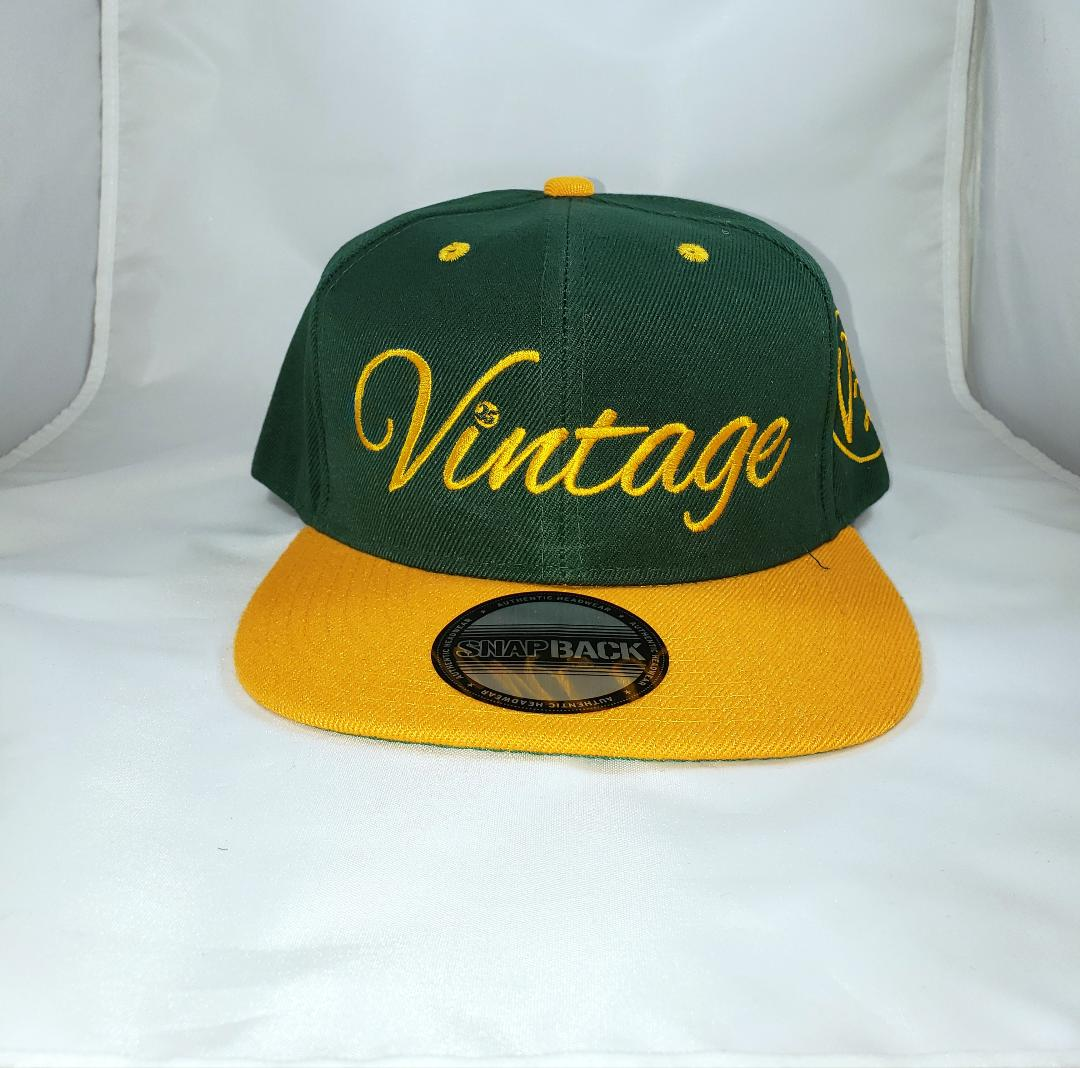 Vintage SnapBack Hat Forrest Green and Yellow Gold