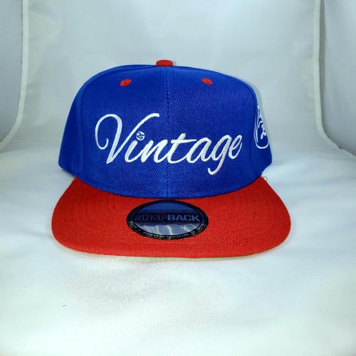 Vintage SnapBack Hat Royal Blue, White & Cherry Red