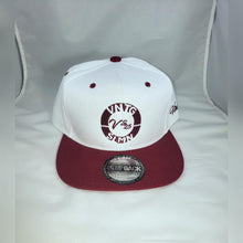 "Load image into Gallery viewer, Vintage ""Pat, I will like to buy a vowel"" White and Burgundy Unisex Snapback"