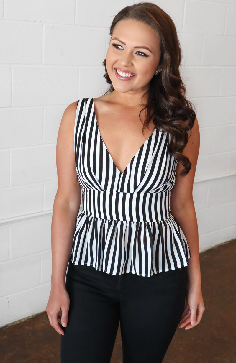 Create Your Own Way Black Striped Top