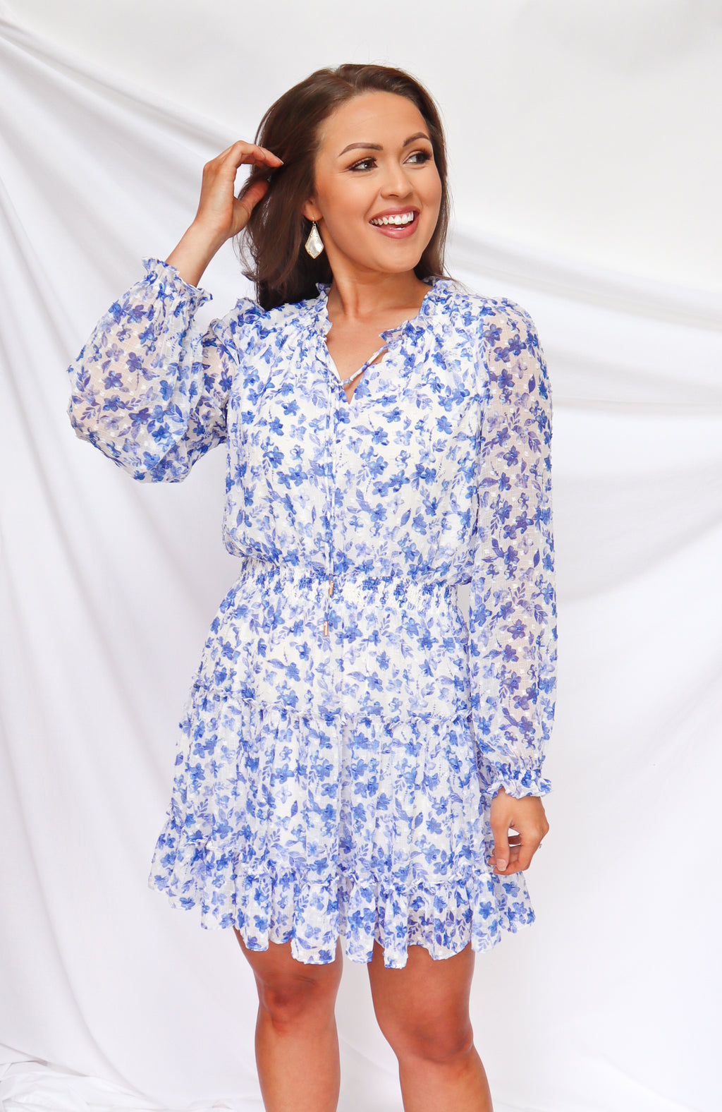 Get In Gorgeous Floral Blue and White Dress