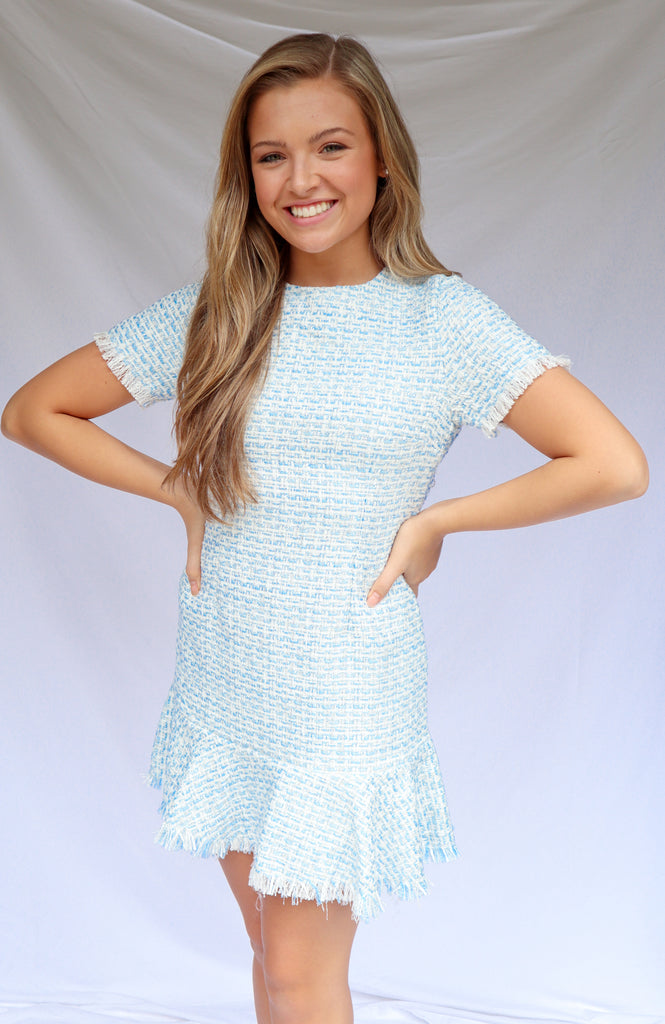 Opened Eyes Blue Tweed Dress
