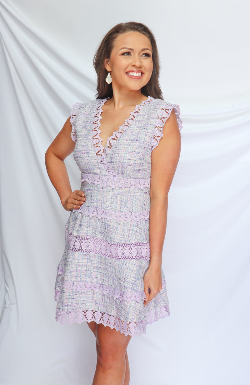 Brunch Babe Lavender Tweed Dress