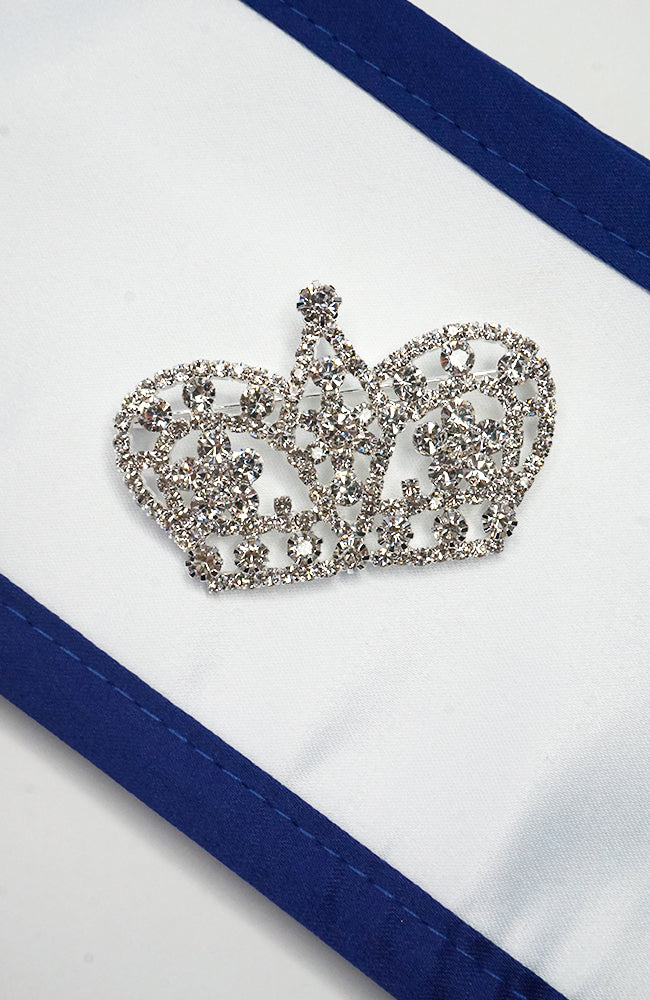Clear crystal crown pin
