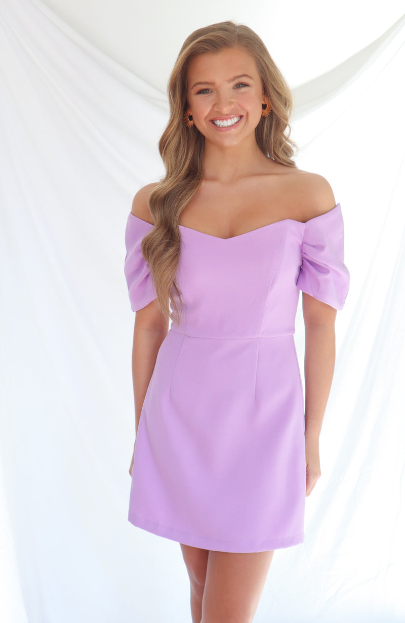 Waiting On This Lavender Off The Shoulder Dress
