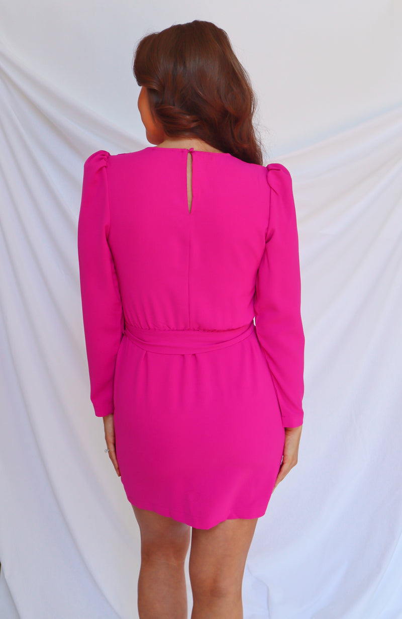 Take Over Magenta Wrap Dress