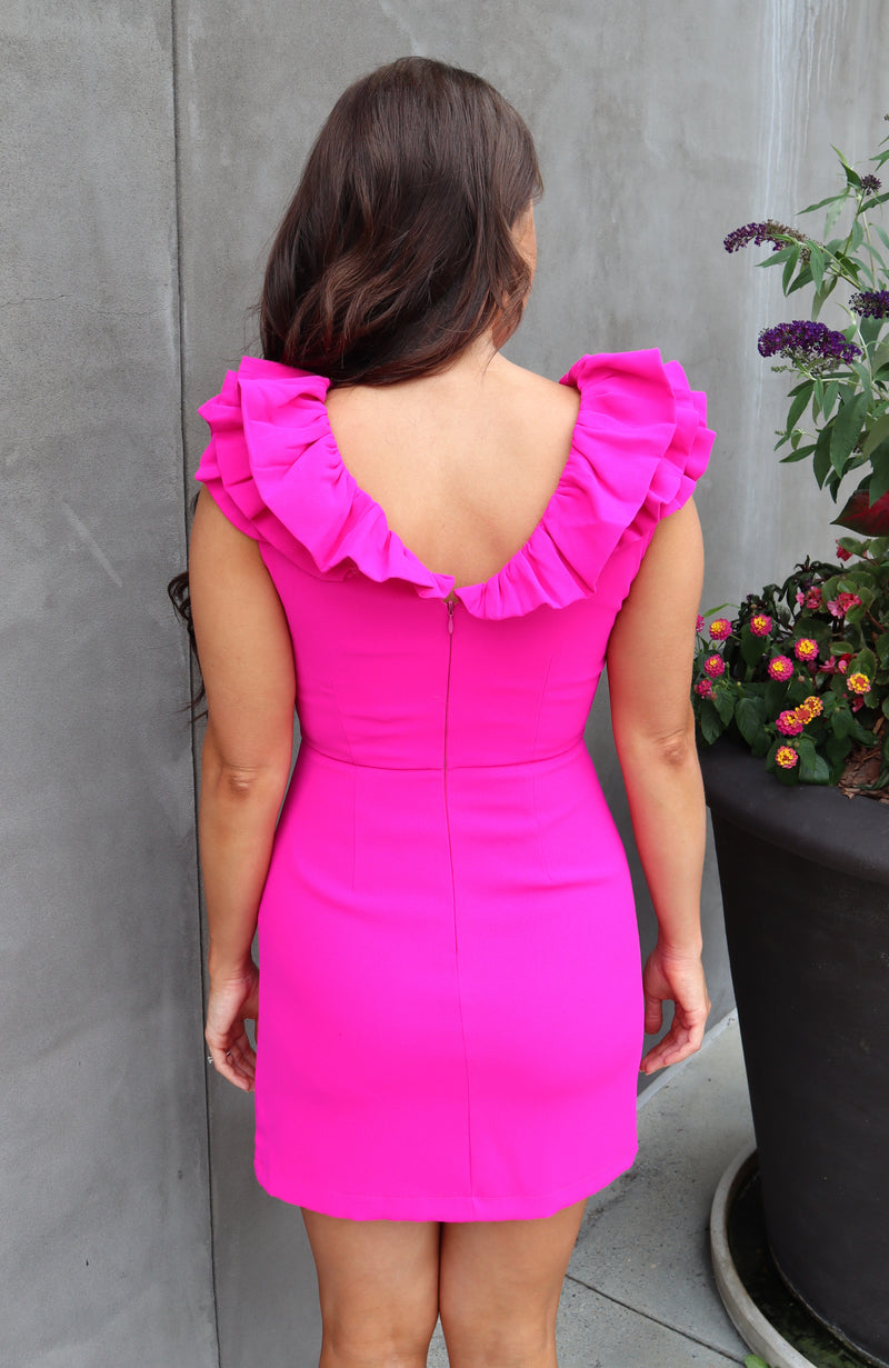 Choose You Magenta Ruffle Dress