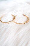 Faith, Hope, and Love 24K Gold Plated Rhinestone Hoop Earrings - Treasure Jewels