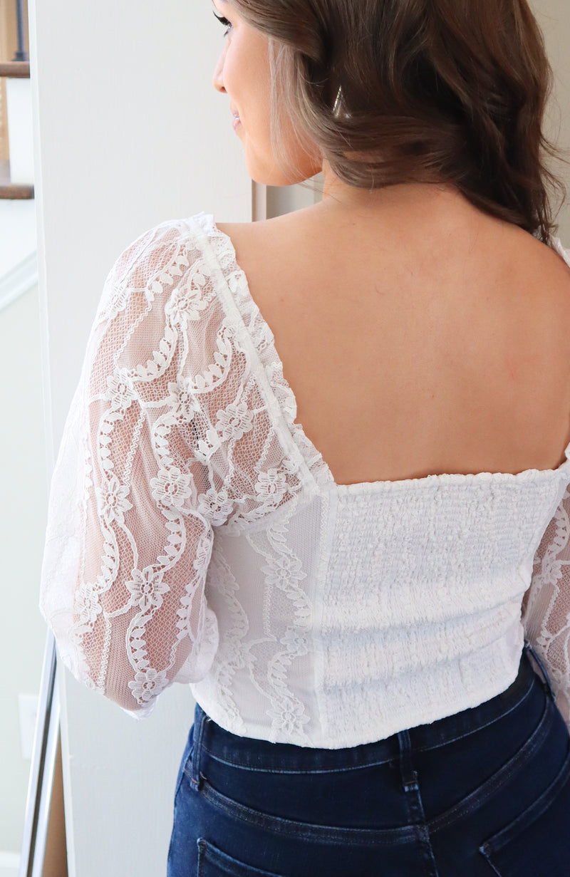 All In My Feelings White Lace Top