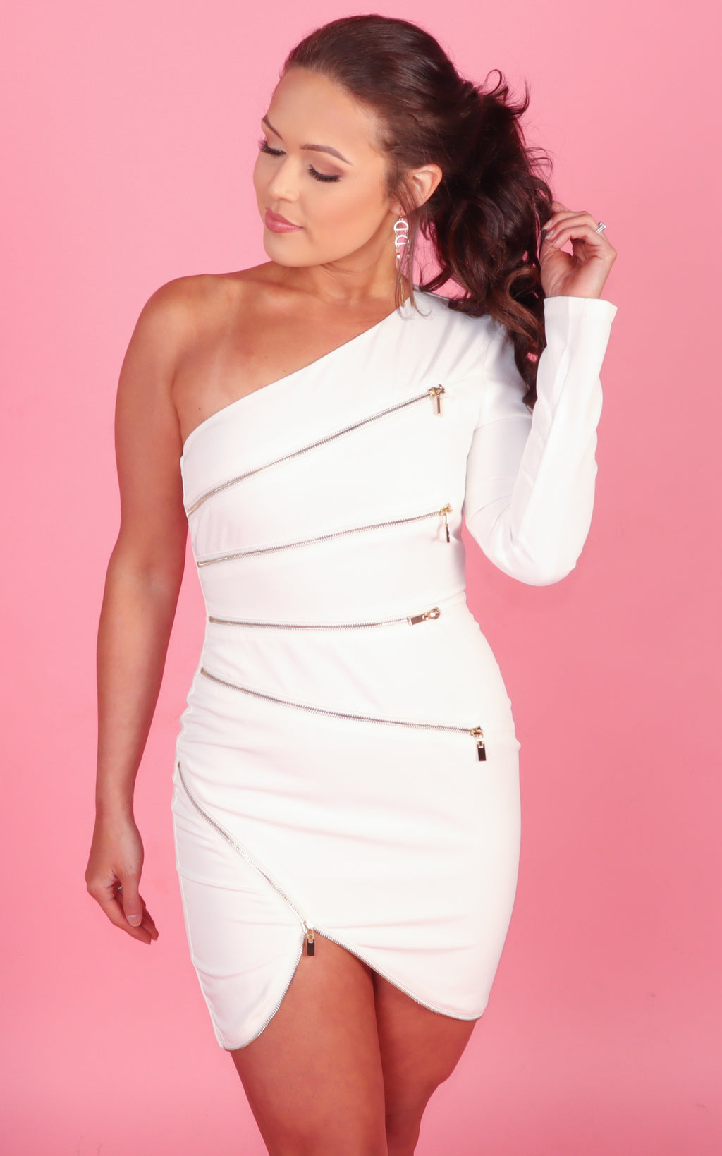 Focused and Fierce White One Sleeve Dress