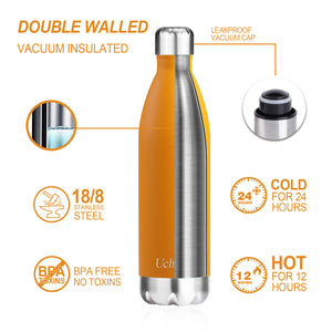 DOUBLE WALLED VACUUM INSULATED STAINLESS STEEL WATER DRINK SPORTS BOTTLE 500ml