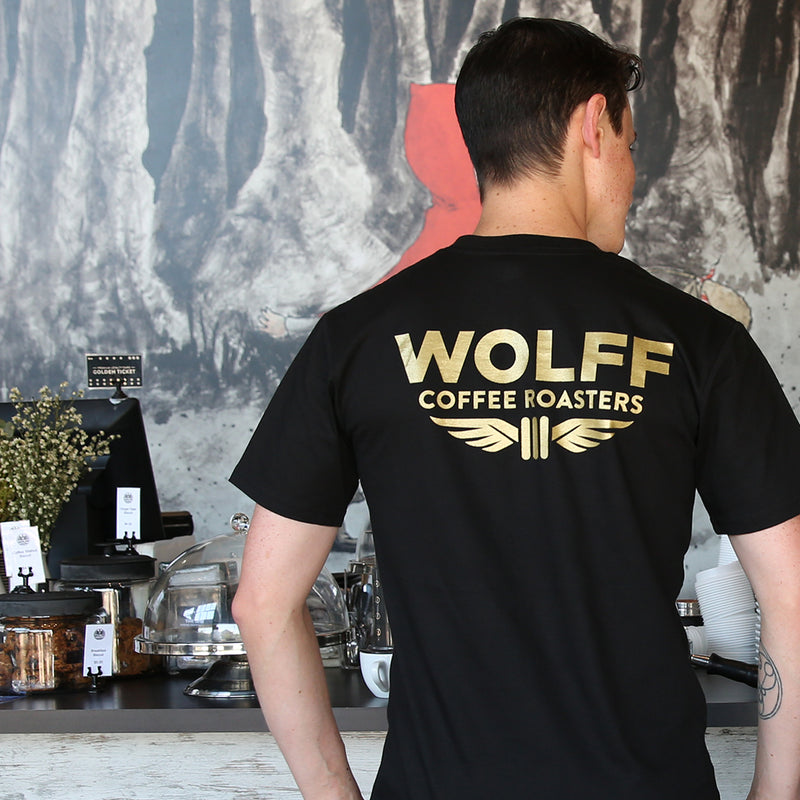 King of the Sky T-Shirt - Black/Gold - Wolff Coffee Roasters Specialty