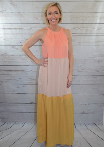 Beautiful Contrast Color Block Maxi Dress