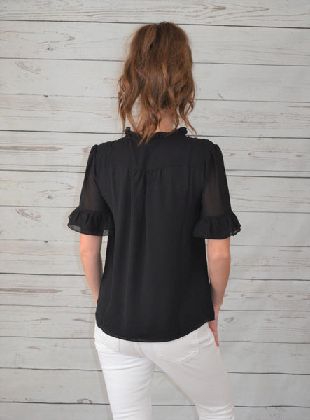 Ruffle Refresh Black Blouse
