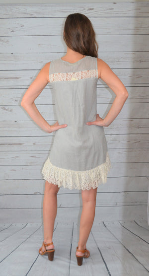Lacy Days Dress - Gray Lace Up Neck Dress