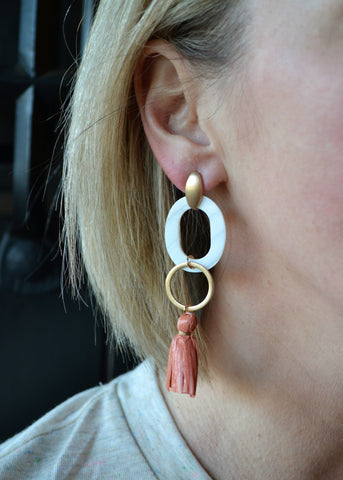 Play it by Ear Earrings - Blush