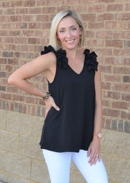 All Eyes on You Ruffle Top, Black