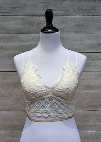 Criss-Cross Lace Bralette - Off White